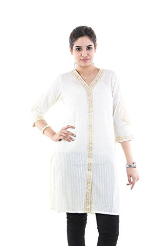 MIX N MATCH Women's Straight Kurti (305000000791859_Off White_Medium)