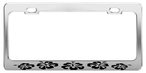 HIBISCUS FLOWER ANIMAL PICTURES FUNNY CHROME STEEL LICENSE PLATE FRAME TAG HOLDER (License Plate Frame Hibiscus compare prices)