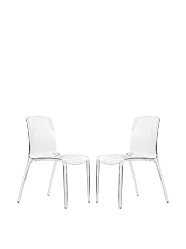 LeisureMod Set of 2 Murray Modern Dining Chairs, Clear