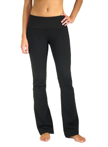 5021-BK-L-35 Flared leg, Fold Over Yoga Pant