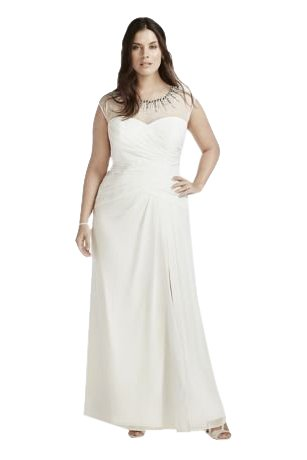 Chiffon Plus Size Wedding Dress with Beaded Neck Style 9SDWG0161, Ivory, 18W
