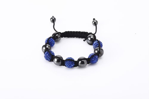 Fashion Five 12mm Clay Bead with Hand Set Blue Czech Crystals and Hematite Beads Shamballa Adjustable Bracelet