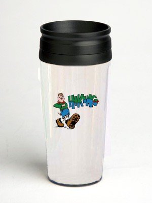 16 oz. Double Wall Insulated Tumbler with hiker hiking - Paper Insert