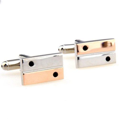 Beour White-gold-plated-silver Multi colored Copper Sport Rectangle Cufflinks