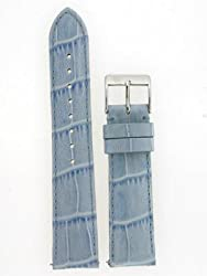 Ladies Watch Band Crocodile Grain Light Blue Glossy Built-In Spring Bars