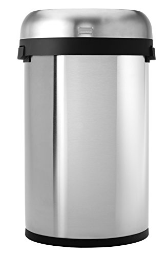 simplehuman Semi-Round Open Trash Can, Commercial Grade, Stainless Steel, 60 L / 16 Gal (Simplehuman Trash Can Open compare prices)