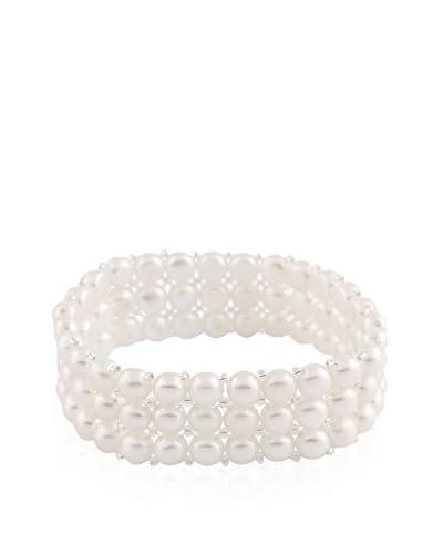 Splendid 6-6.5mm Triple-Row White Pearl Stretch Bracelet