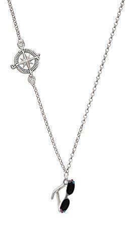 3-D Black Sunglasses Delicate Compass Necklace