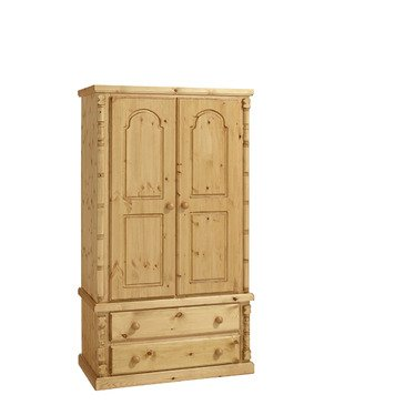Ideal Furniture 2 Door Wardrobe, Wood, Antique Pine