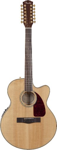 Fender CJ-290SCE-12 Jumbo Flame Maple 12-String Acoustic-Electric Guitar, Solid Spruce Top, Laminated Flame Maple Back and Sides - Natural