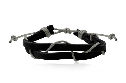 Fashion Black & Grey Leather Wrap Cuff Rasta Bracelet Bangle Men's Jewelry