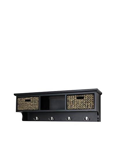 Gallerie Décor Newport 2-Basket Storage Shelf, Espresso