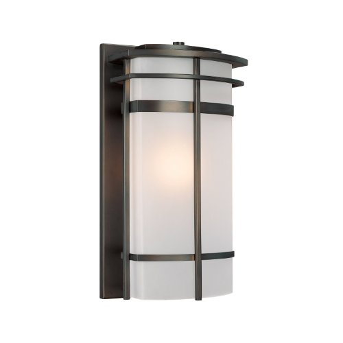 Capital Lighting 9883OB Lakeshore 1-Light Outdoor Wall Lantern, Olde Bronze with Frosted Glass