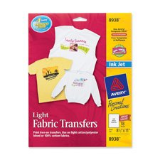 "Avery Consumer Products Products - Iron-On T-Shirt Transfers, 6 Transfers, 8-1/2""x11"" - Sold as 1 PK - Create your own iron-on transfers using an ordinary clothes iron, most software, your inkjet printer and Personal Creations T-shirt Transfers. T-shirt Transfers are designed for white or light-colored, 100 percent cotton or polyester/cotton fabrics. Image can be flipped using the printer menu or iron-on transfer feature within graphics software. Color Shield formula ensures crisp, long-lasting"