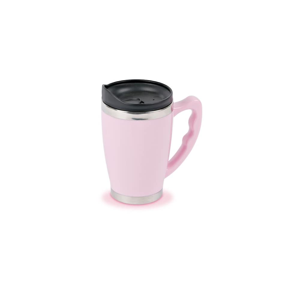 Think Pink Stainless Steel Double Wall 12 Ounce Travel Mug with Handle