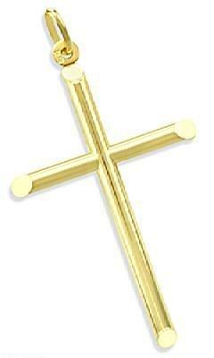 14K Yellow Gold Plain Crucifix Cross Round Tube Charm Pendant New