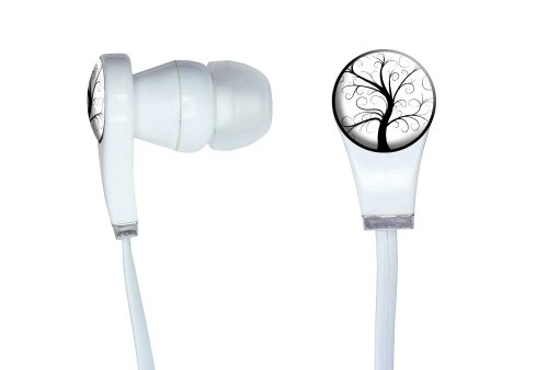 Graphics And More Tree Of Life Novelty In-Ear Headphones Earbuds - Non-Retail Packaging - White