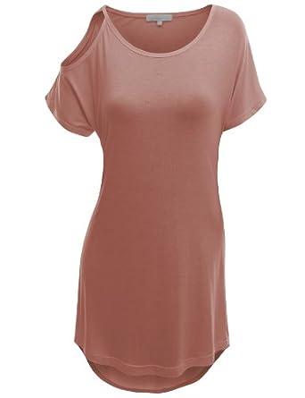 Doublju Short Sleeve T-shirt with Open Shoulder INDIPINK (US-M)