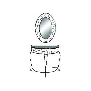 Image of Elegant Metal Console Table and Mirror Set (DEC66657)