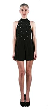 ZANDRA PLAYSUIT PLAIN BLACK WITH CRYSTAL