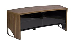 MMT Curve TV Cabinet Walnut Veneer finish for 30 inch to 50 inch LED LCD OLED Curve screens beam through glass door - Extra deep for AV amps - FREE UK mainland delivery - no BT postcodes or Scottish addresses - 2 Man home delivery
