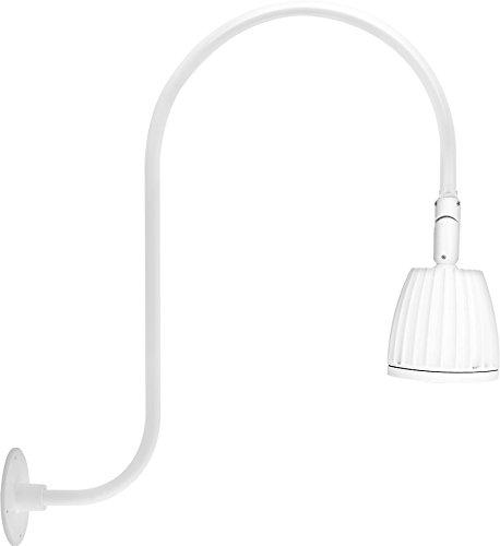 Rab Lighting Gn3Led13Ysw Gooseneck Style 3 13W Warm Led No Shade Spot Reflector, White