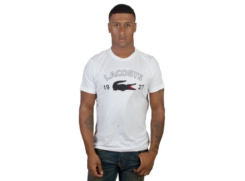 Lacoste Applique Big Croc Tee Shirt (S, Blanc- Eclipse JLK)