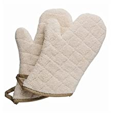 "San Jamar 813TMSB Heavy Duty Terry Cloth Temperature Protection Oven Mitt with Steam Barrier, 13"" Length, Natural"
