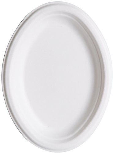 "Eco-Products Ep-P009 10"" X 7"" Oval Sugarcane Plate (10 Packs Of 50)"