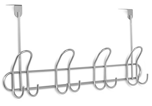 Internet's Best Over the Door Double Wire Hook Rack | 4 Hooks | Stainless Steel Coat and Hat Rack Hanger | Bathroom Towel Rail | Outdoor or Indoor (Camper Rails compare prices)