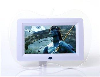 7 'Digital Screen Multimedia Digital Photo Frame With U.S. Plug Charger (White)