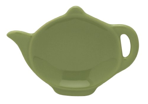Hic Brands That Cook Transitionals Ceramic Teapot Shape Tea Bag Caddy, Sage