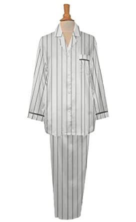 Striped Long Sleeve Pajama with Petite Lace Trim, Porcelain/Black Stripe, Small