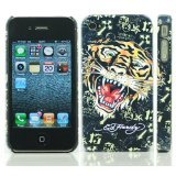 Textured Black Tiger Design Ed Hardy Hard Case Back Cover For Iphone 4 4S
