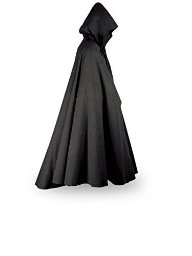 Mantello medievale con cappuccio - Eventi LARP - nero - S