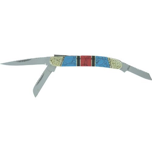 Maxam® 3-Blade Knife With Genuine Turquoise Stones - Skstone3