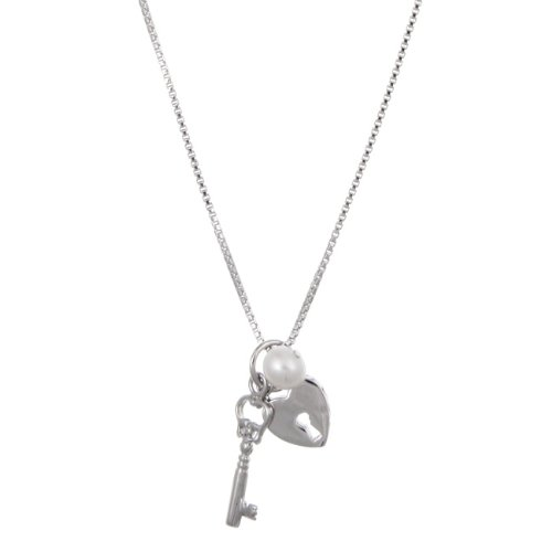 Sterling Silver Freshwater Pearl Key and Heart Necklace (5-5.5 mm)