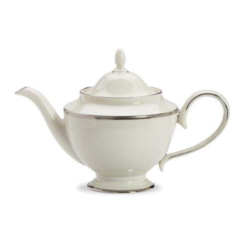 Lenox Tuxedo Platinum Ivory China Teapot