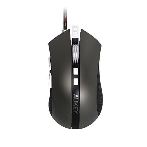 AUKEY-Mouse-da-Gaming-con-DPI-e-Colori-LED-Regolabili-Mouse-da-Gioco-con-9-Pulsanti-Programmabili-e-Peso-Regolabile-Compatibile-con-MAC-e-Windows-Vista-7-8-10-Argento