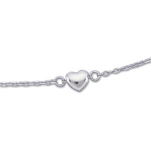 14K White Gold. Diamond Cut Cable Heart Anklet