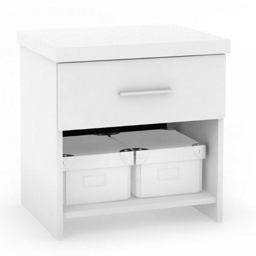 Sonax 5S-111-LWB Single Captain's Storage 3-Piece Bed Set with Flat Headboard/Nightstand, Frost White
