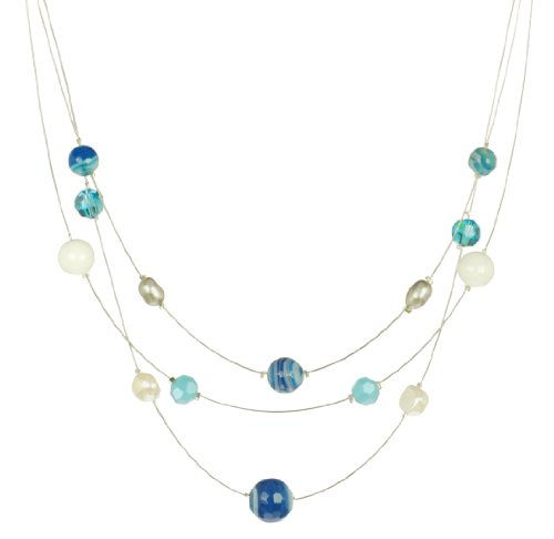 3 Row Blue Agate and Freshwater Cultured Pearls Illusion Sterling Silver Necklace 17