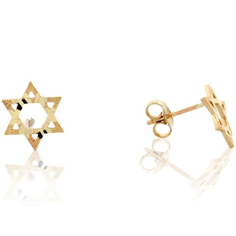 14k Real Gold Star of David Jewish Religious Diamond Cut Post Earring