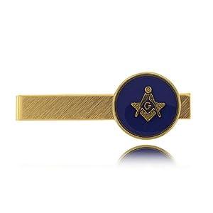 Blue Masonic Tie Clip Gold Tone W/ Round Signet - New