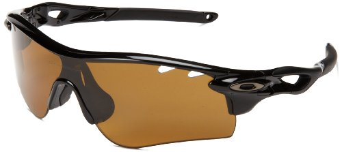 Oakley Radarlock OO9181-25 Polarized Sport Sunglasses,Polished Black,55 mm (55mm Vented compare prices)