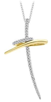 "Carissima 9ct Yellow Gold 0.2ct Diamond Twist Cross Pendant on Chain Necklace 46cm/18"""