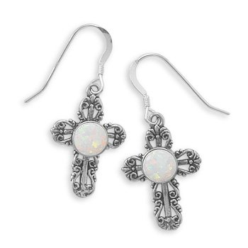 White Opal Filigree Cross Earrings Antique Finish Sterling Silver, Made in the USA