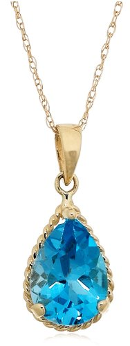 14k Yellow Gold Pear Shaped Swiss Blue Topaz Pendant with Rope Trim, 18""