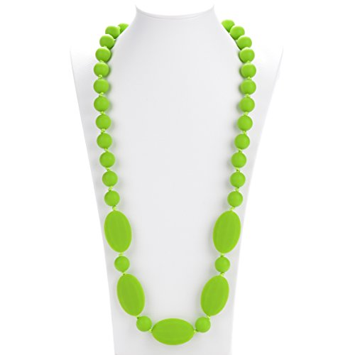 Consider It Maid Silicone Teething Necklace for Mom to Wear - FREE E-BOOK - BPA FREE and FDA Approved - One Love (Chartreuse)