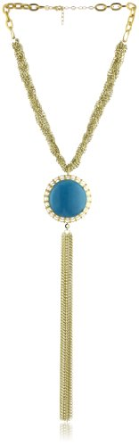 K. Amato Cabochon and Tassel Turquoise Pendant Necklace